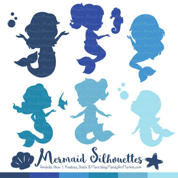 Sweet Mermaid Silhouettes Vector Clipart in Shades of Blue
