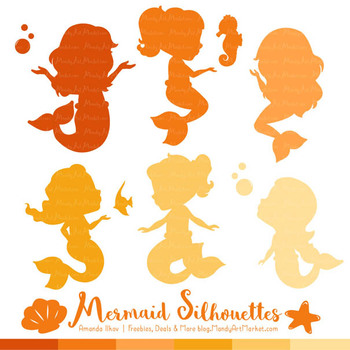 Sweet Mermaid Silhouettes Vector Clipart in Shades of Yellow