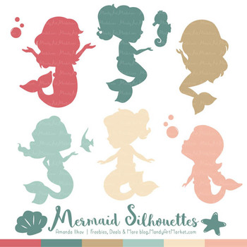 Sweet Mermaid Silhouettes Vector Clipart in Soft Christmas