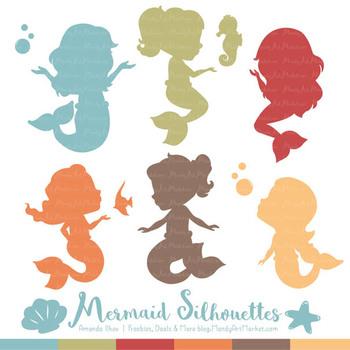 Sweet Mermaid Silhouettes Vector Clipart in Vintage Boy