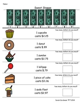 Sweet Shoppe Dollar More money worksheet