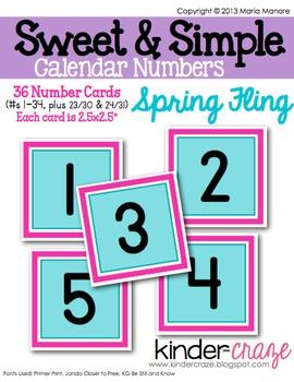 Sweet & Simple Calendar Numbers {Spring Fling}