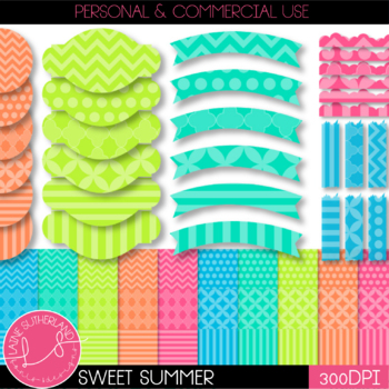 Sweet Summer Digital Paper and Accent set