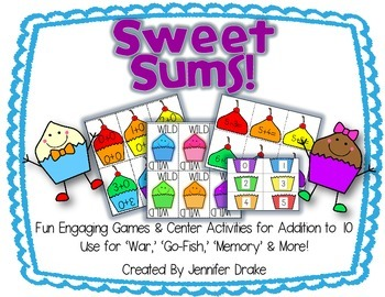 Sweet Sums!  Cupcake Fun For Addition To 10!  Games, Cente