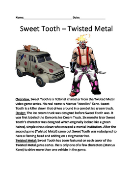 Sweet Tooth - Twisted Metal Clown character lesson facts i