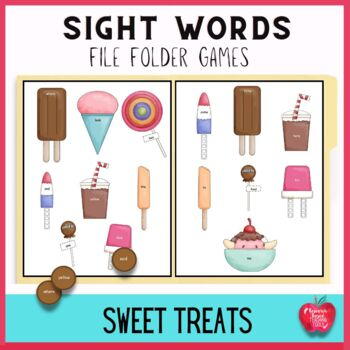 Free!! Sweet Treats Pre-Primer Dolch Words File Folder Game