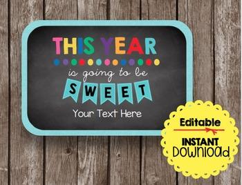 Sweet Year EDITABLE Card - Teacher Gift - Back To School