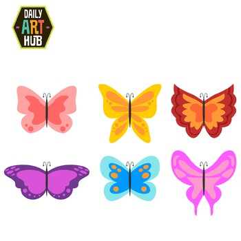 Sweet and Simple Butterflies Clip Art - Great for Art Clas
