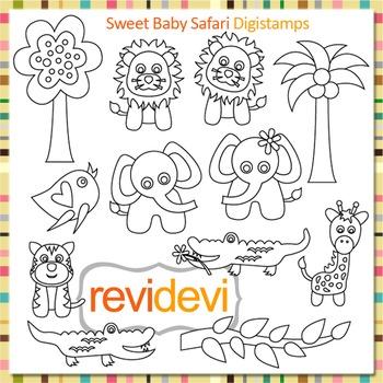 Line art Sweet baby safari clip art (digital stamps, color