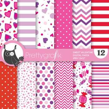 Sweet valentine digital paper, commercial use, scrapbook p
