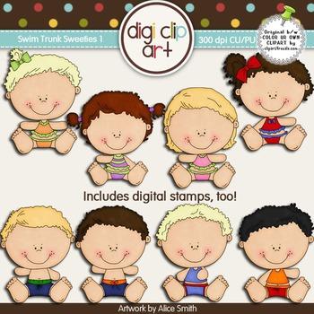 Swim Trunk Sweeties 1 -  Digi Clip Art/Digital Stamps - CU