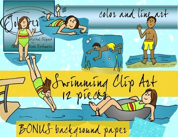 Swimming Clip Art and Digital Paper - Color and Line Art 1