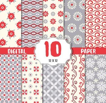 Swirl digital paper, Floral Swirl, swirls background, vint