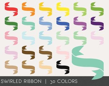 Swirled Ribbon Digital Clipart, Swirled Ribbon Graphics, S