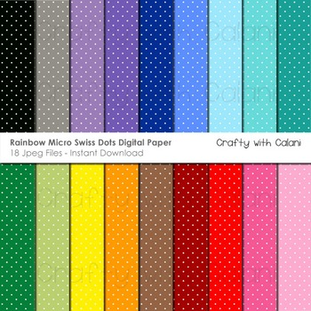 Swiss Dots in Rainbow Colors Digital Paper Set