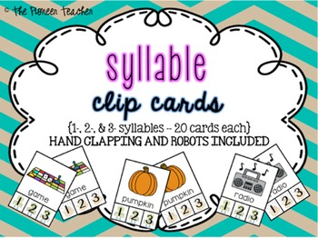Syllable Clip Cards {1, 2, and 3 syllables.... 60 cards}