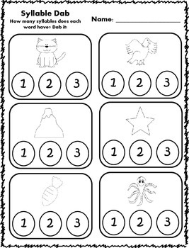 Syllable Dab Activities