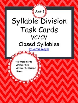 Syllable Division Task Cards Set 1: VC/CV Closed Syllables