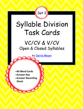 Syllable Division Task Cards Set 2: VC/CV & V/CV Open & Cl