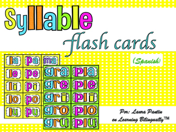 Syllable Flash Cards in Spanish