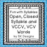 Syllables Open Closed VCCV VCV Fluency Skills Flash Cards