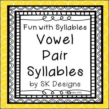 Syllables Vowel Pair Build Skills, Fluency w Flash Cards &