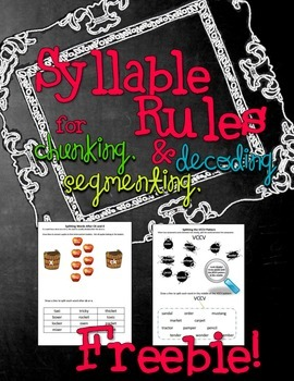 Syllable Rules FREEBIE