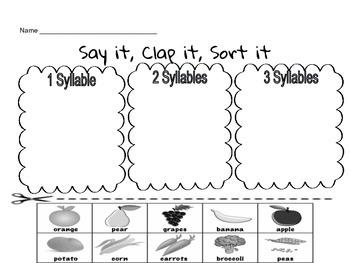 Syllable Sort Worksheet
