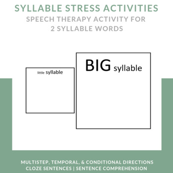 Syllable Stress Anchor Activities for 2 Syllable Words