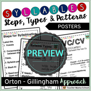Syllable Types Poster  (FREE)