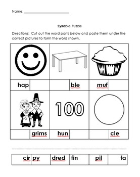 Syllable Word Puzzle Worksheet