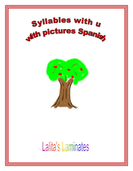 Syllable u cards with picture