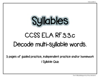 Syllables and Multi-Syllables RF.3.3
