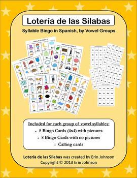 Syllables Bingo by Vowel Groups in Spanish - Lotería de la
