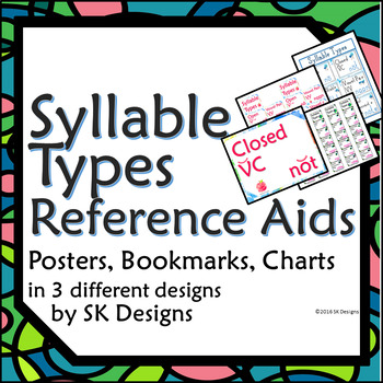 Syllable Type Review Posters, Pages, Bookmarks, Visual Ref