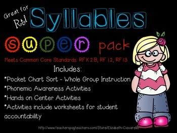 Syllable Segmentation Counting Syllables RTI Pack: items w