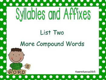 Syllables and Affixes Supplementary Material: Sort 2