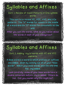 Syllables and Affixes supplement for Words Their Way Sort book
