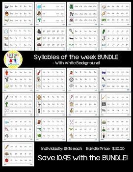 Syllables of the week:  Silabas de la semana BUNDLE!  Whit