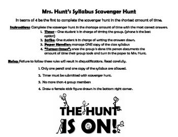 Syllabus Scavenger Hunt