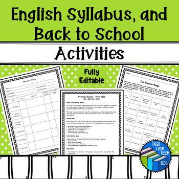 English Syllabus, procedures, behavior forms and ice break