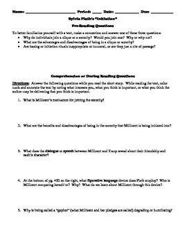 "Sylvia Plath's ""Initiation"" Reading Strategy Worksheet"