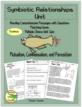 Symbiotic Relationships Science Unit - Mutualism, Commensa