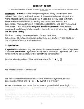 Symbolism and Subtext Series ; Interpretation, Suggestion,