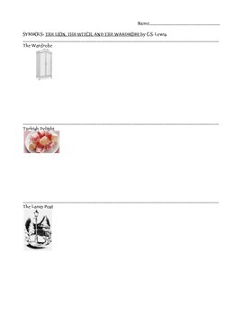 Symbolism graphic organizer: The Lion the Witch and the Wardrobe
