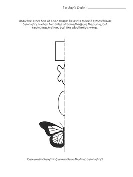Symmetry Worksheet for Geometry