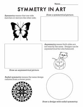 Symmetry in Art Worksheet:  Radial, Symmetrical, Asymmetri