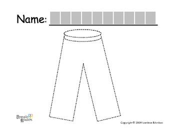 """Symple Reader's Week 13: Tracing Worksheet: """"Pants"""""""