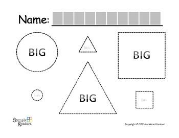 Symple Reader's Week 14: Tracing Worksheet: BIG and LITTLE