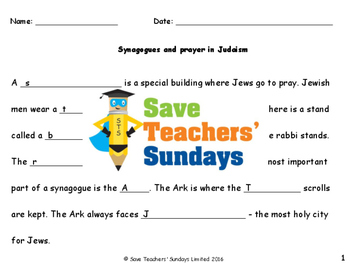 Synagogues Lesson plan, PowerPoint, Cards and Worksheets